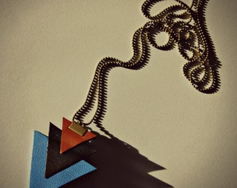 Necklace leather minimalist triangle