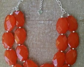 Orange Statement Necklace, Orange Bridesmaid Jewelry, Orange Statement Necklace, Orange Chunky Necklace