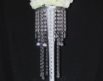 28 Inch High 6 French Pendant Diamond Crystal Chandelier Centerpiece with Glass Eiffel Tower Vases Wedding & Special Event