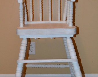 White high chair painted high chair vintage jenny lind chalk paint
