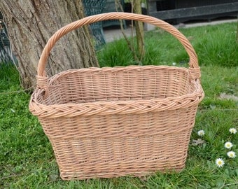 Rectangular Wicker Basket, Handwoven Willow Basket, Long Handle Wicker Basket, Rectangular Picnic Basket,Handled Wicker Basket,French Basket