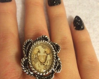 Conjoined Twins Ring Adjustable Dark Gothic Horror Siamese