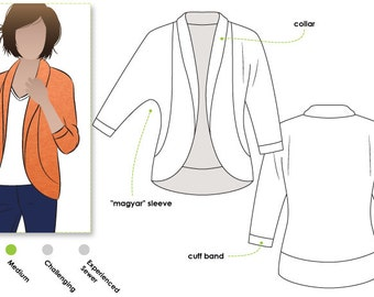 Women's Sewing Pattern - Fiona Knit Top - Sizes 10, 12, 14 - Cardi PDF Sewing Pattern by Style Arc - Downloadable Pattern