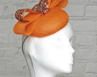 Orange Fascinator Headpiece