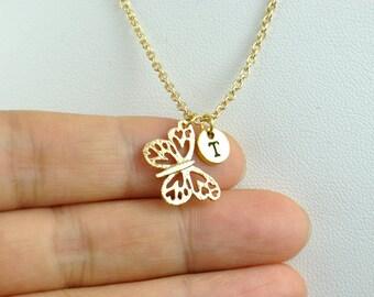 18K gold Butterfly Necklace, Personalized A-Z initial necklace, Gold Birthstone Necklace, Gold Initial Necklace, Bridesmaid Necklace