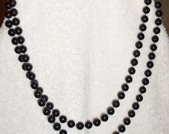 Long Black Pearls Vintage Costume Jewelry