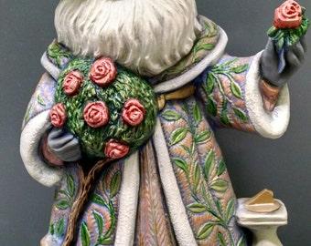 SALE!!!    Rose Santa -- Heirloom-quality handpainted ceramic Santa -- Christmas mantel decor