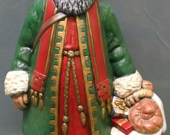 SALE!!!Greek Old World Santa -- Heirloom-quality handpainted ceramic Santa -- Christmas mantel decor