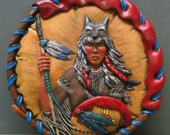SALE!!!Wolf Shield--Native American Indian Figurine--Heirloom Quality--Hand-painted Ceramic--Home Decor--Native American Art