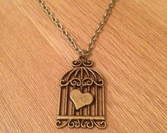 Bronze Birdcage Charm on a Bronze Chain or Black / Blue / Purple Choker Necklace