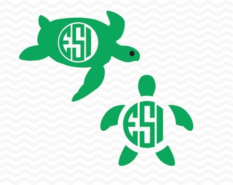 Turtle SVG, DXF, EPS, Circle monogram frames, Vinyl cut files for use in Silhouette Studio Designer Edition and Cricut Design Space.