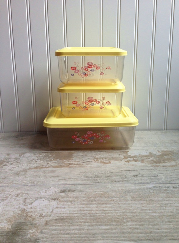 vintage yellow ribbon kitchen storage containers retro flowers