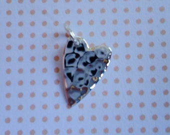 925 Sterling Silver Hammered Heart charm Silver charm supplies