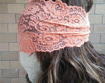 Lace Headband,  Stretchy Lacy Hair Bands,  Stretch Lace Headband,   Wide Lace Headband , coral Headband  T150217