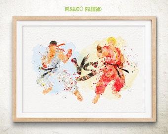 Street Fighter, Ryu vs Ken- Watercolor, Art Print, Home Wall decor, Watercolor Print, Street Fighter Poster