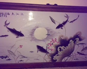 Perfect Antique Chinese Famille Rose Porcelain plaque W/ Fish Signed Calligraphy Republic Period