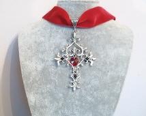 Cross Necklace Choker - Vampire Diaries Sacred Heart Cross Choker  - Gothic choker - Vampire Diaries Necklace - Vampire Diaries Jewellery -
