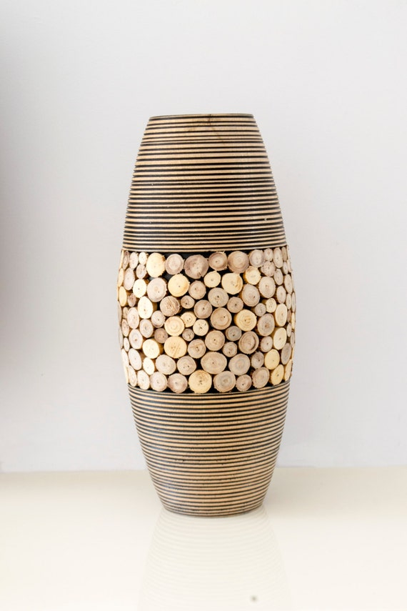 Wood Vase Home Decor Large Wood Vase Rustic Vase Handmade Vase