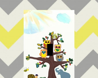 owls unique Light Switch plate cover whimsical wall art home decor kids retro vintage theme Owl in tree wall art outlets pick your size