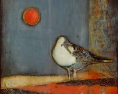 "Seagull Wall Art--Archival Print of Original Mixed Media Painting--""Seagull Moon""--Pam Kapchinske"
