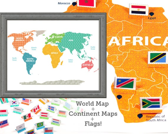 World map world flags learning toys wall art kids room for Kids room world map