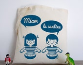 The canteen yum! (tote bag cotton organic illustration retro vintage girl boy vudo ateliervudo screen)