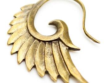 Tribal wings earrings. brass earrings. bohemian earrings.