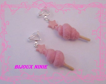 Clip candy floss in fimo earrings