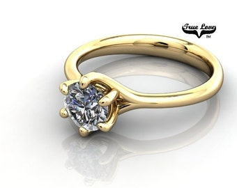 14 kt. Yellow   Gold Solitaire  Round 6 mm Forever Brilliant Cut Moissanite Engagement Ring #7014