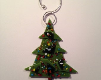 Large fused glass olive Christmas tree ornament