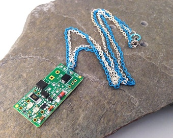 Blue Upcycled Circuit Board Necklace Recycled Reclaimed Light Blue and Silver Tone Double Chain 18""