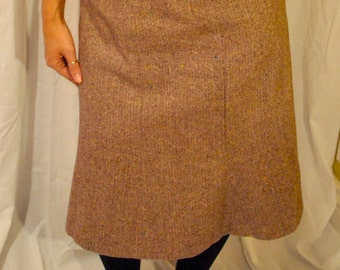 1960s Vintage Brown Tweed Wool Swing Skirt