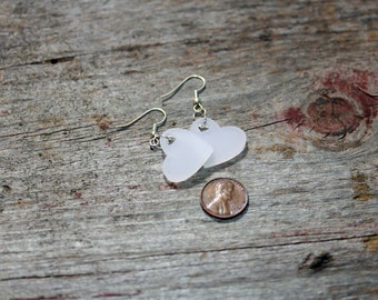 Lucite Hearts Earrings Pink, Green or White
