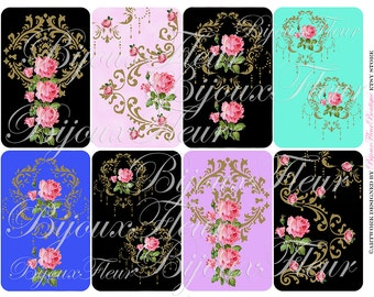 Antique Floral Rose Cards Gift Tags Instant Download no.132 Antique Wallpaper Collage Sheet Vintage Place Cards PalaisFleurVintage