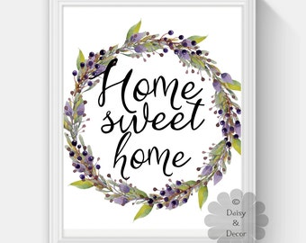 Home sweet home printable wall art typography art decor nursery playroom typographic print quote calligraphy print wall art watercolor art