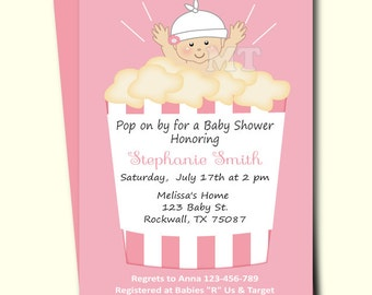 Ready to Pop Baby Shower Invitation- Cute Popcorn Babyshower Invitations- Girl Baby Shower Printable