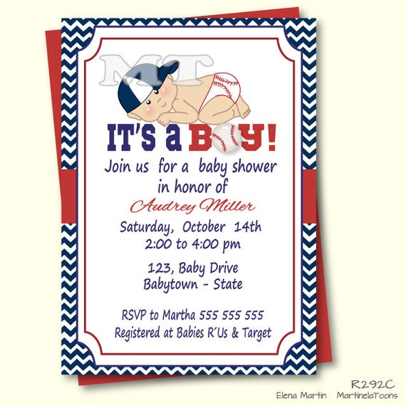 baseball baby shower invitationblue and red chevron baby boy, Baby shower invitations