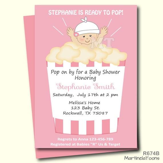 ready to pop baby shower invitation cute popcorn babyshower, Baby shower