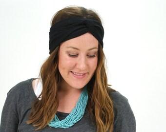 All Black Boho Turban Headband, Women's Headband, Turban Headband, Tribal Head Wrap, Fabric Hair Wrap, All Black Headband, Neutral Headband