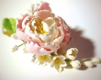 Peony hair clip, peony barrette, flower hair clip, can be used as wedding accessories, bridal accessories
