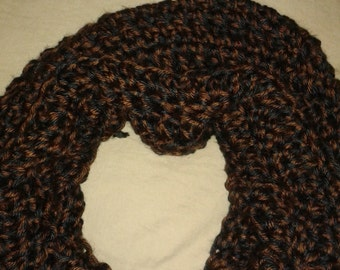 Black and Brown Wool Neck Cowl