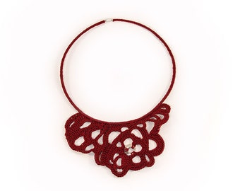 Crochet Necklace - delicate necklace - lace necklace - textile necklace - necklace for her - Crochet Collar - marsala - Crochet Jewelry