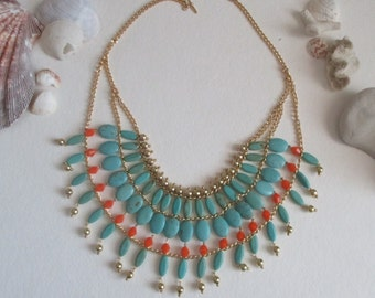 Gypsy Boho Beaded Bib necklace