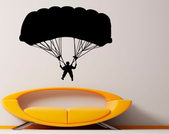 Skydiving Wall Decal Vinyl Stickers Parachute Jumping Housewares Art Interior Bedroom Removable Home Decor (1sdyr)