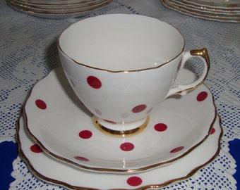 Vintage Polka Dot Tea Trio Royal Vale China