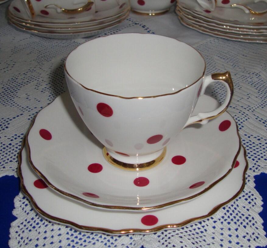 Vintage polka dot tea trio royal vale china for Gold polka dot china