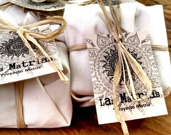 Goat Milk Artisanal Soaps- Package of three. Wraped in cotton fabric.