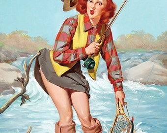 "Vintage Pinup Art Girl // Fishing Rod Pinup ""All Caught Up"" by Gil Elvgren // 28""x36"" Digital Download // Easy to Size Down"