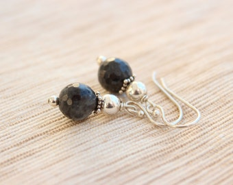 Black labradorite 10mm gemstone earrings with sterling silver balls and bali spacers on sterling silver fish hook ear wires