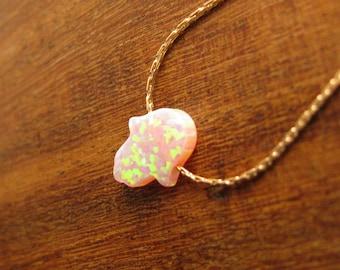 Hamsa necklace, gold necklace, opal hamsa necklace, 14k gold filled, luck necklace, pink hamsa necklace, hand necklace